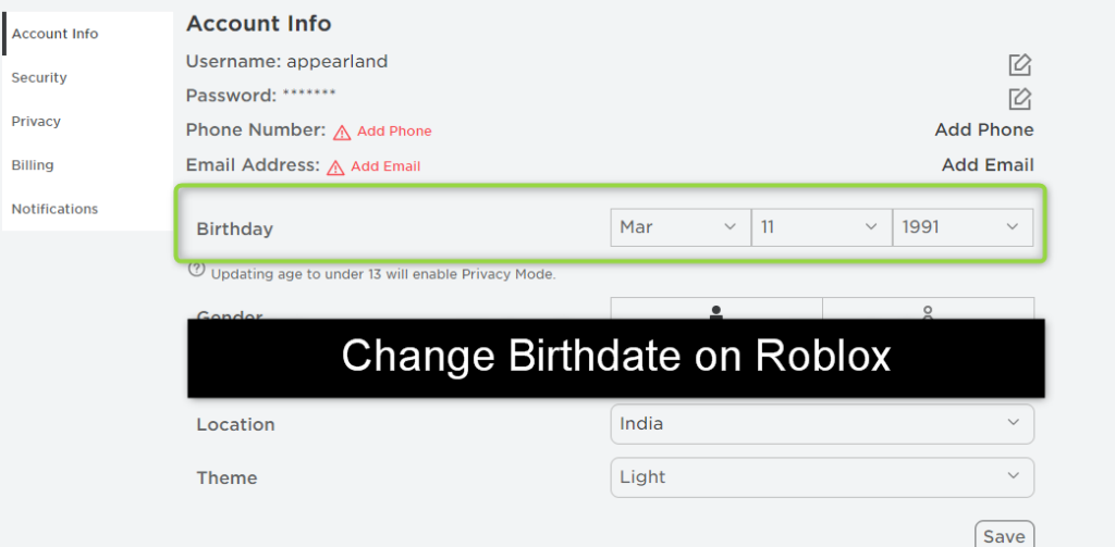 How to Change Your Birthday on Roblox