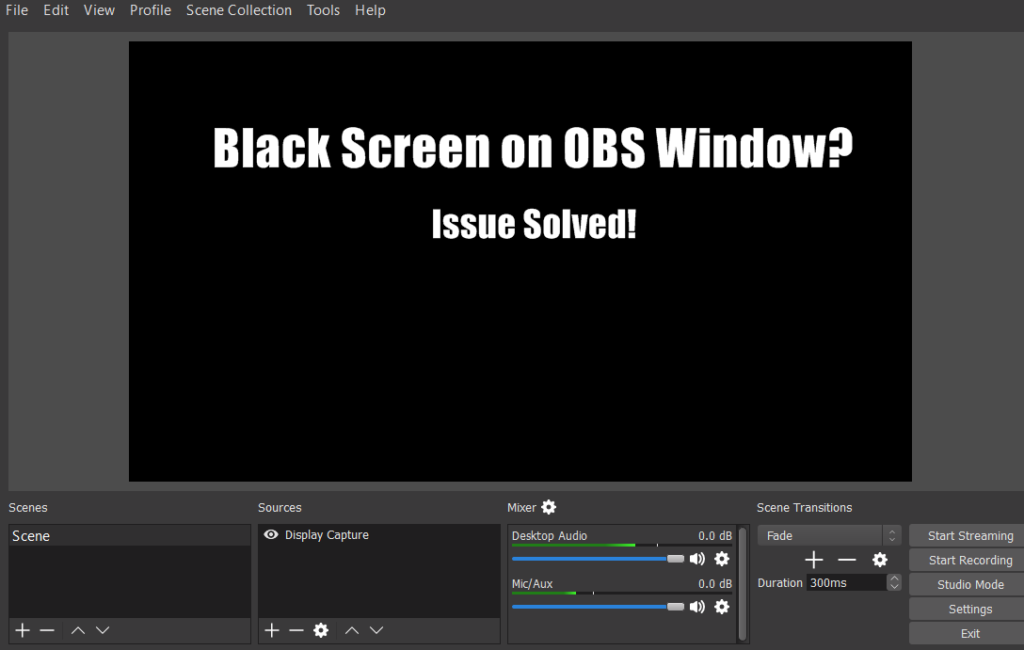 black screen issue on OBS Windows